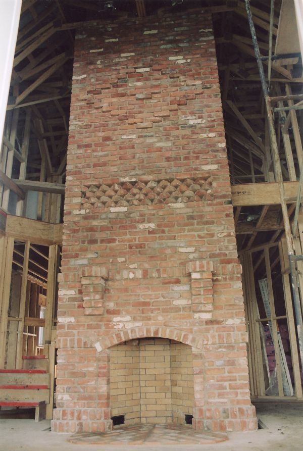 Interior Brick Fireplace